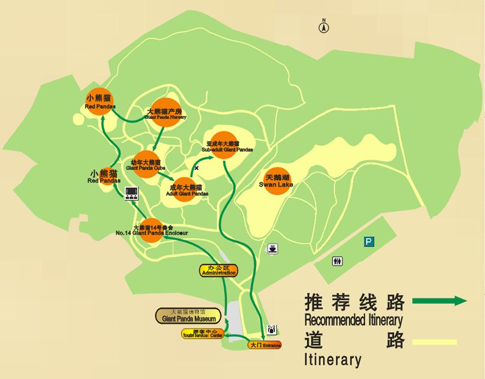 大熊猫基地景区地图 - 成都旅游网