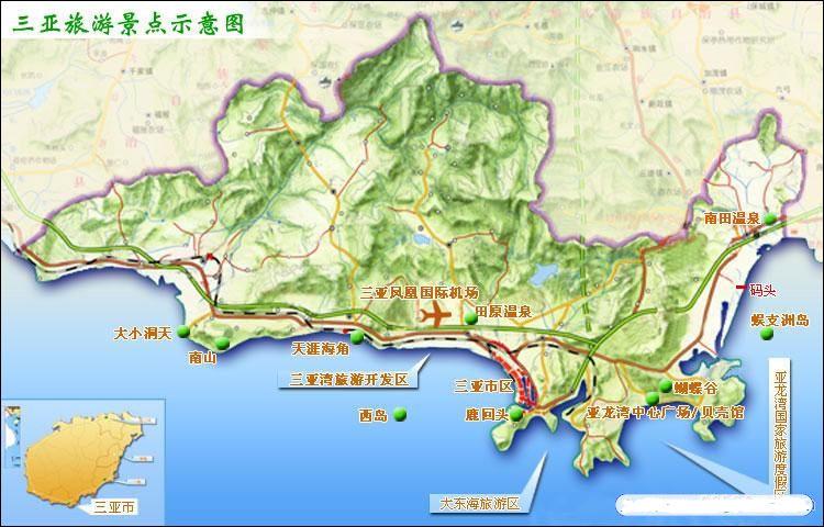 三亚旅游景点包括亚龙湾、天涯海角、凤凰岛、三亚西岛、大东海、蜈支洲岛、分界洲岛、三亚南山、椰梦长廊等,游览景区较多,所以我社为您旅游出行做了准备,三亚旅游景点地图供您参考。 三亚景点地图: 组图1(点击可看大图)  组图2(点击可看大图)  组图3  看了三亚旅游地图,相信您对三亚旅游景点分布有了个大概的了解,如需前往旅游,可点击三亚旅游路线了解详情,也可拨打蛙步网免费咨询热线,祝您旅途愉快! 延伸阅读: