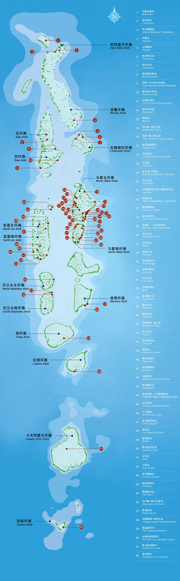 马尔代夫岛屿分布图
