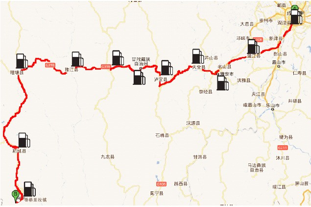 稻城亚丁沿途加油站及过路费(南线)